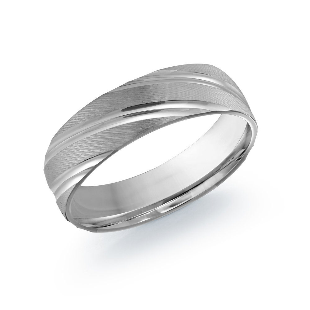 White Gold Men's Ring Size 6mm (LUX-012-6W)